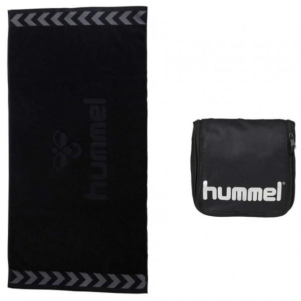 Hummel Handtuch und Kulturtasche im Set, schwarz und schwarz/silber